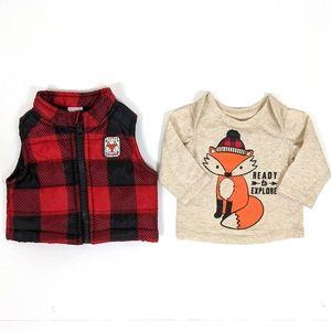 Healthtex Infant Boy Red Plaid Vest And Shirt Set